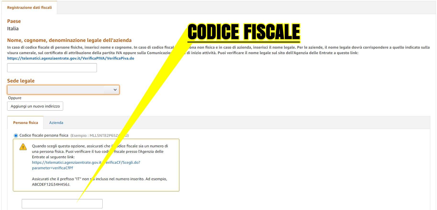 Inserimento codice fiscale su sito Amazon