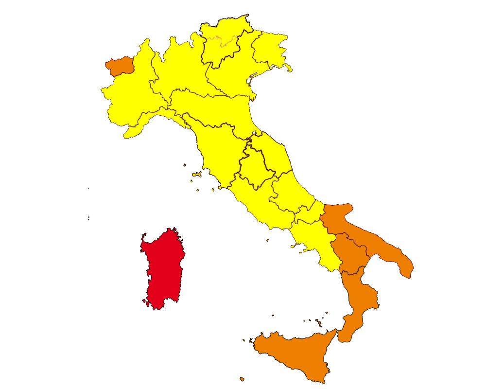 Mappa colori Italia