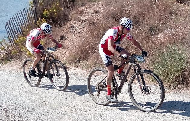 Giuseppe Conca e Cristian Boffelli a pochi chilometri dal traguardo della Roc d'Azur