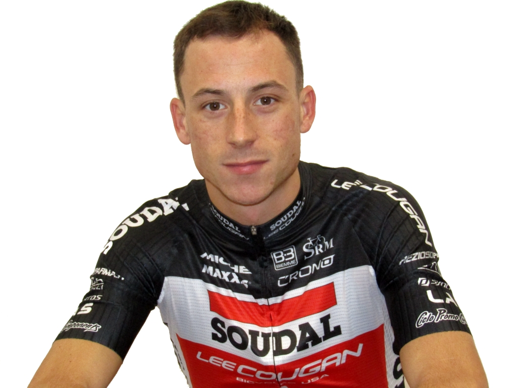Un primo piano di Jacopo Billi dal 2019 atleta di Soudal-Lee Cougan Racing Team