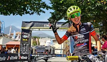 Omap Cicli Andreis. tris di Chiara Burato all'Etna Marathon