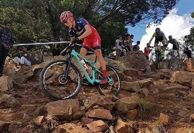 Il sudafricano Alan Hatherly nella rock garden della Wolwespruit MTB Park